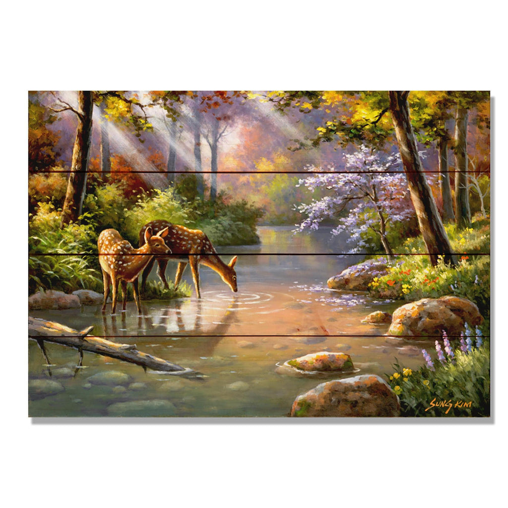 Deer In Stream Colorful Nature Art by Sung Kim - Wood Wall Art DaydreamHQ 20x14
