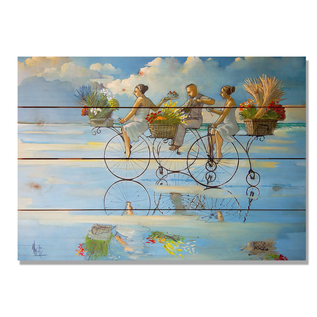 Big Wheel Beach - Colorful Bicycle Kitchen Wood Wall Art DaydreamHQ 20x14