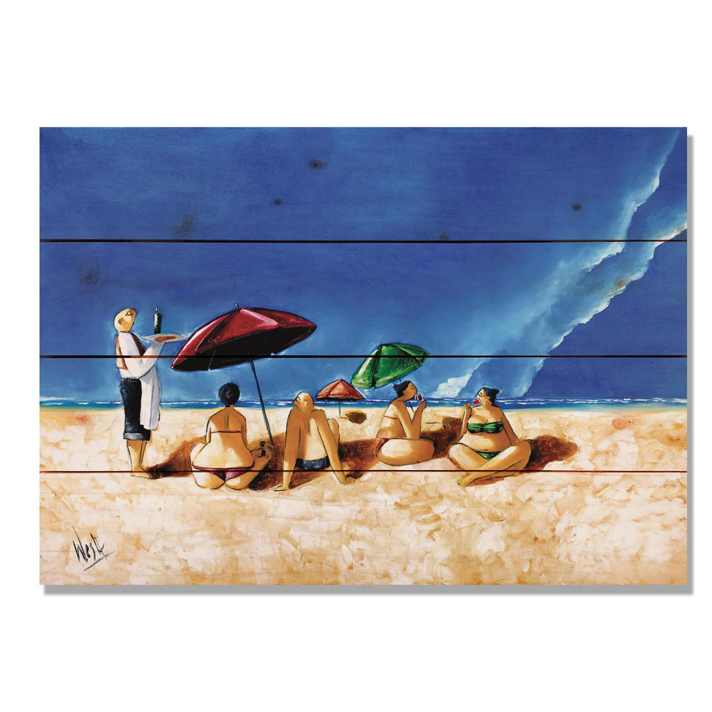 "Summer Sipping by Ronald West - Beach Wood Wall Art DaydreamHQ 20""x14"""