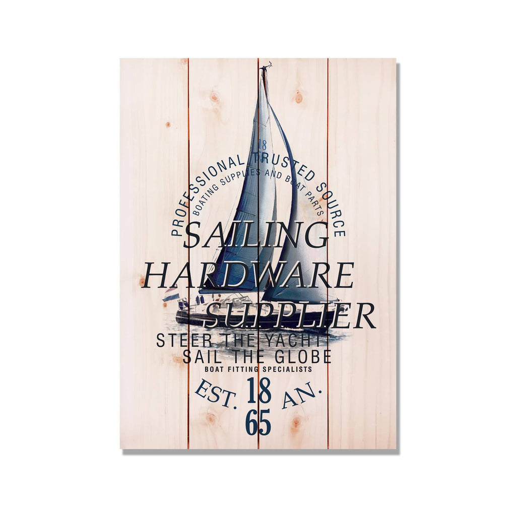Sailing Hardware Supplier Sailboat Wood Pallet Art Print / Ocean and Nautical Wood Art / Coastal Decor (WSHS) DaydreamHQ