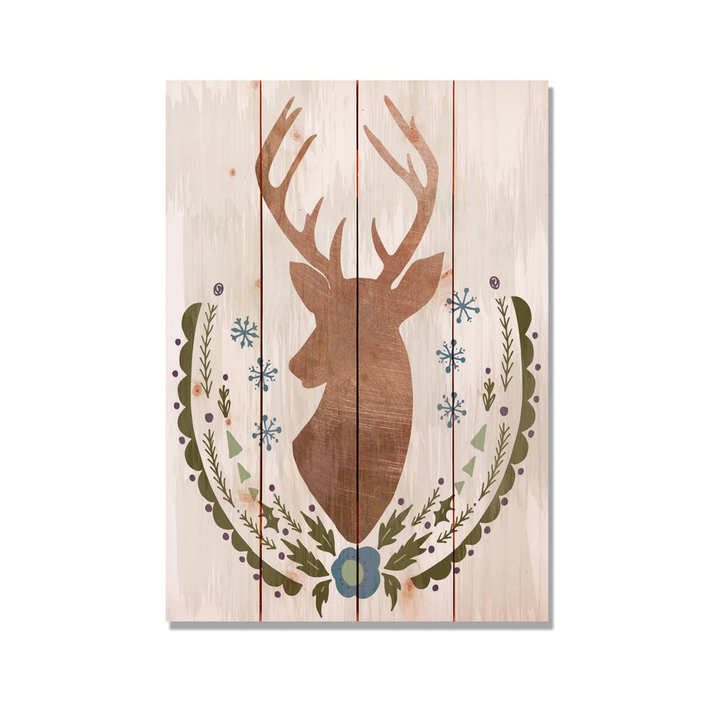 "Stagg Christmas Reindeer - Holiday Wood Wall Decor DaydreamHQ 14""x20"""