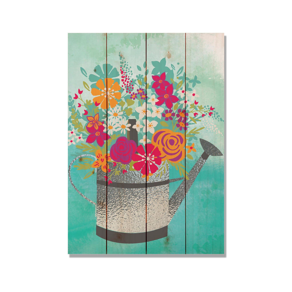 Colorful Watering Can - Kitchen & Garden Wood Wall Decor DaydreamHQ 14x20