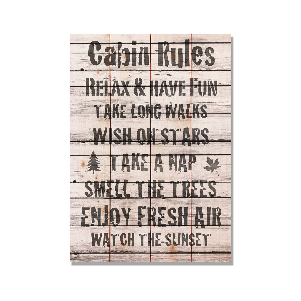 Cabin Rules - Cabin Welcome Sign Wood Wall Decor DaydreamHQ 14x20