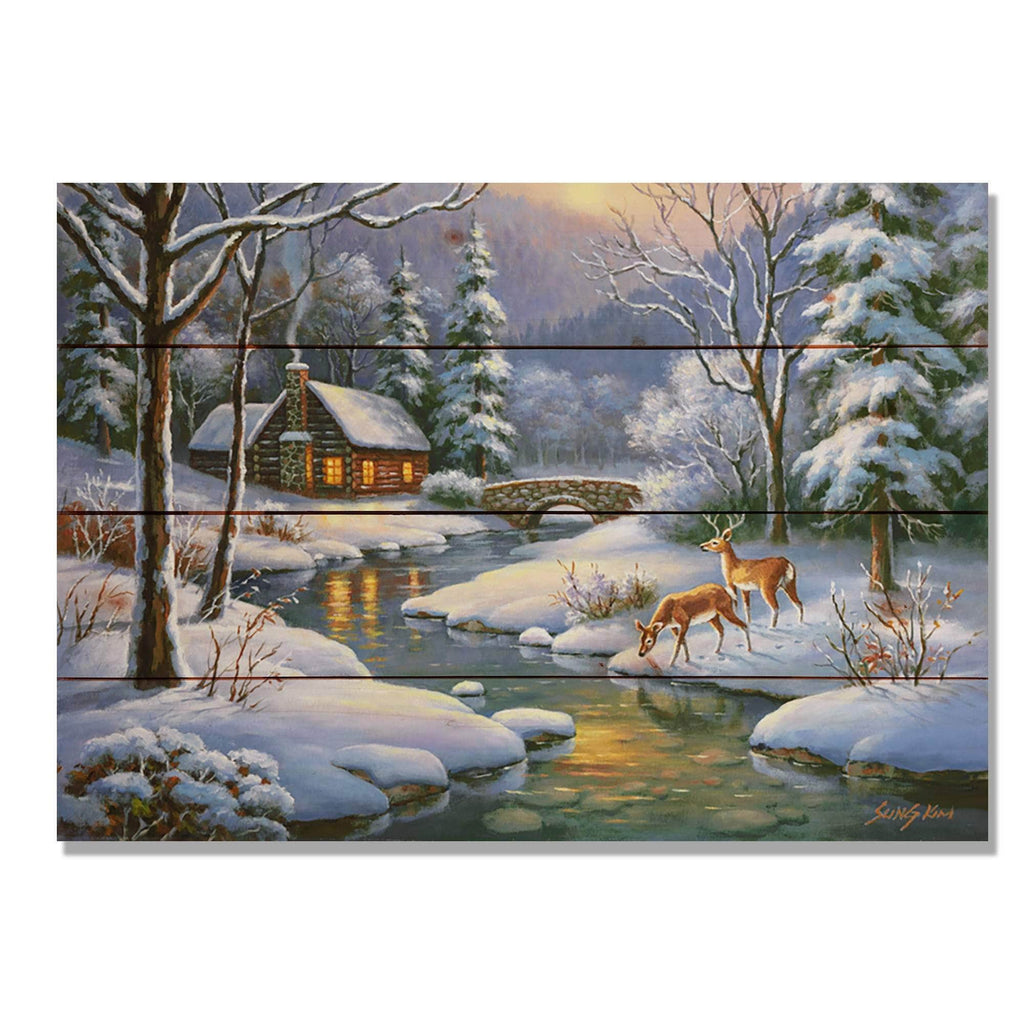 "Winter Deer by Sung Kim - Holiday Wood Wall Art DaydreamHQ 20""x14"""