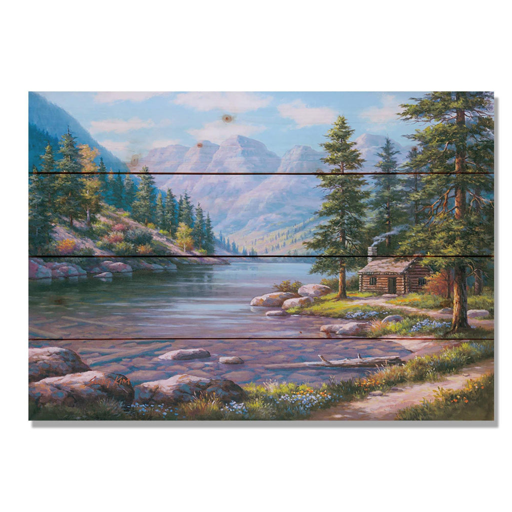 "River Cabin by Sung Kim - Nature Wood Wall Art DaydreamHQ 20""x14"""