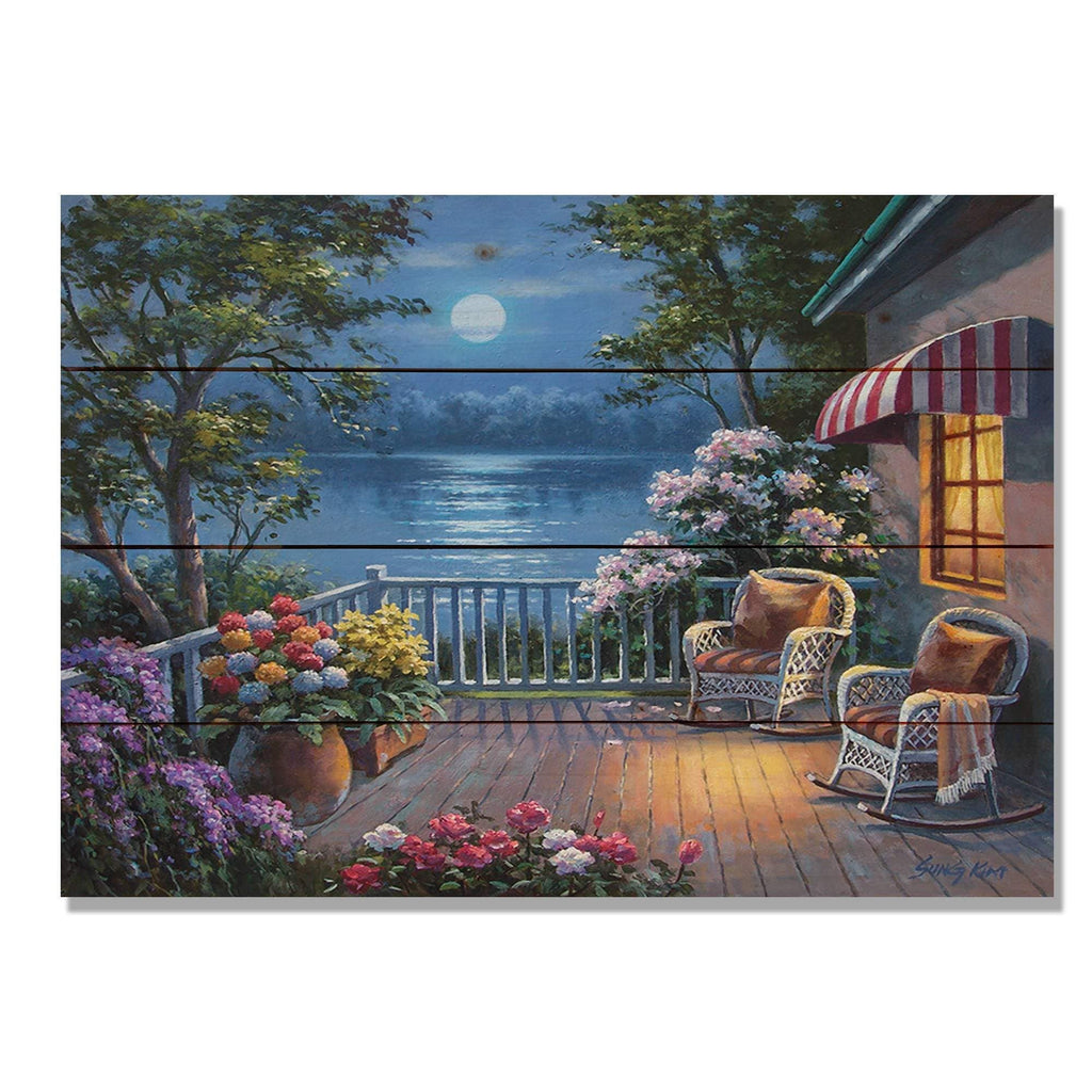 Evening Deck by Sung Kim - Cabin Wood Wall Art DaydreamHQ 20x14