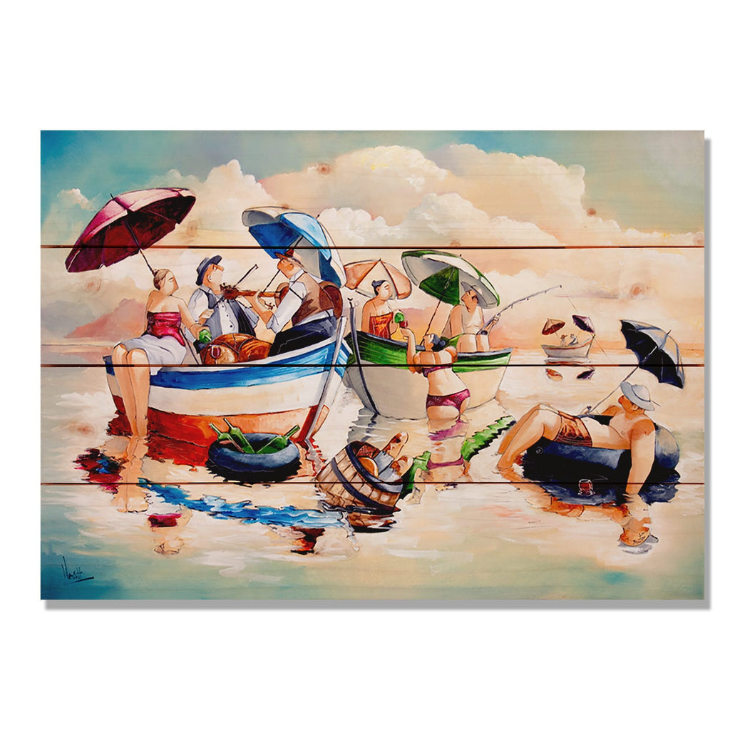 "Water Party by Ronald West - Colorful Beach Wood Wall Art DaydreamHQ 20""x14"""