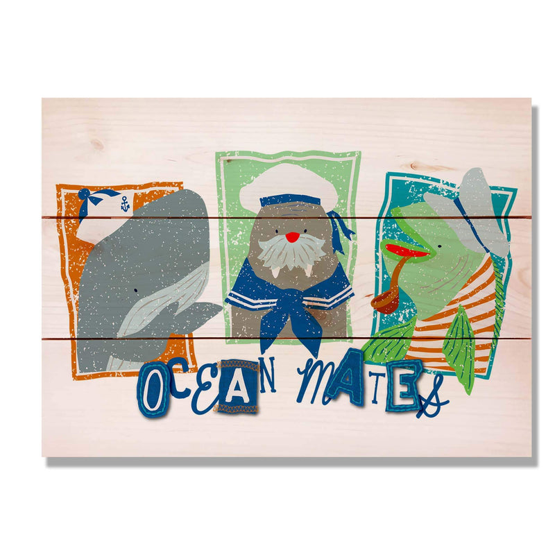 Kids Room Sea Creatures Print on Wood Pallet / Fun and Colorful Room Decor / Ocean Mates Wall Hanging Art (WTOM) DaydreamHQ