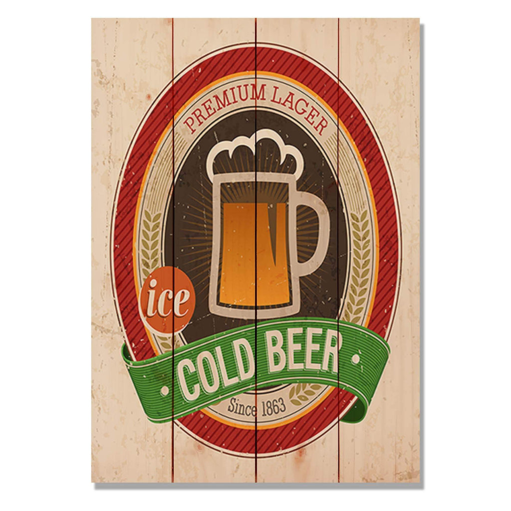 "Ice Cold Beer - Home Bar Wood Wall Decor DaydreamHQ 14""x20"""