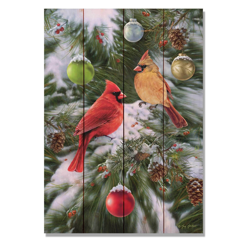 Cardinals and Ornaments by Giordano - Christmas Wood Wall Art DaydreamHQ 14x20