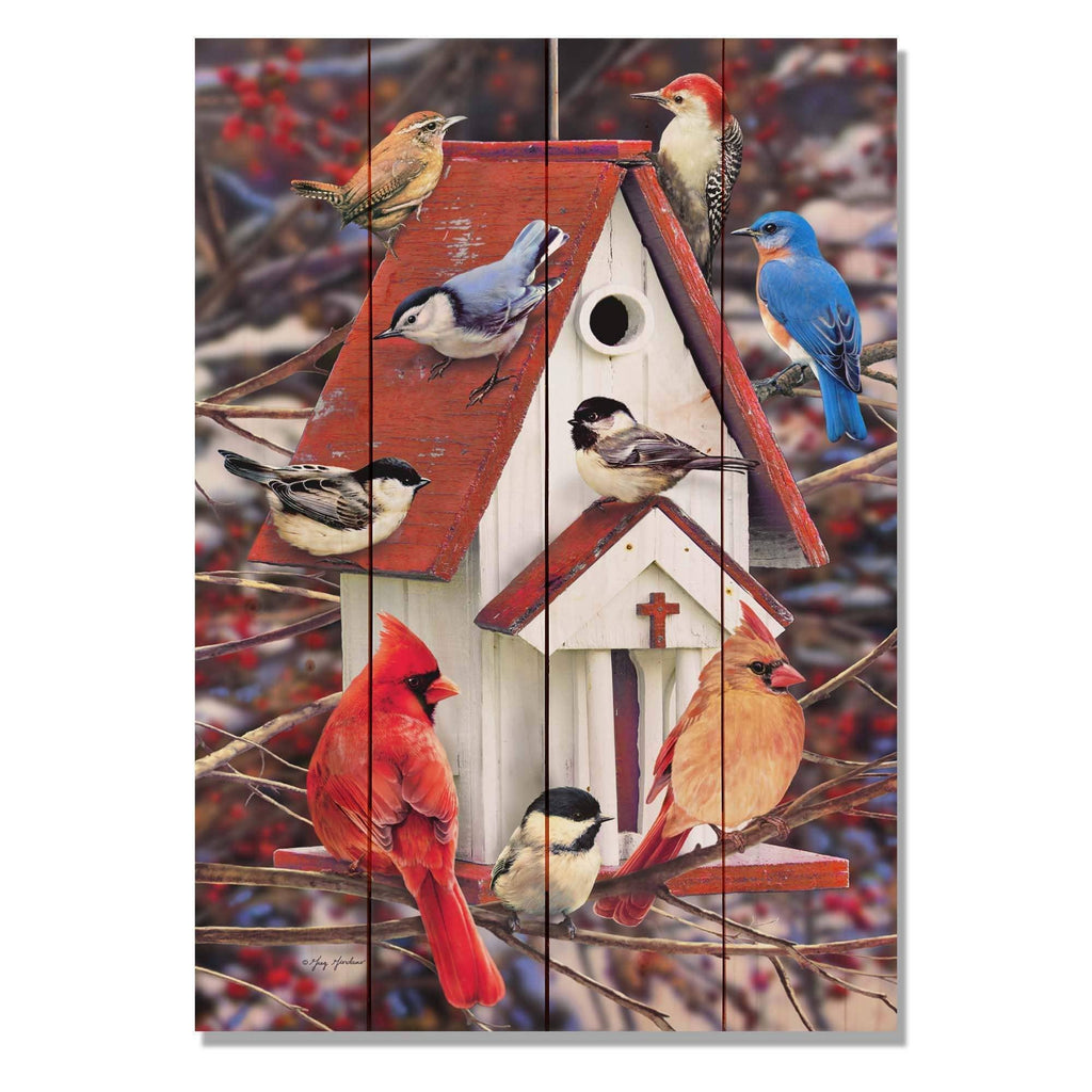 Church Birdhouse by Giordano - Bird Wood Wall Art DaydreamHQ 14x20