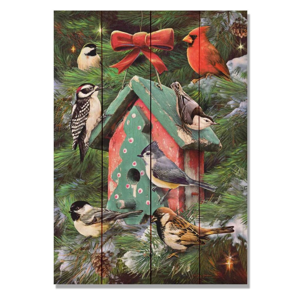 Birdhouse and Pines, Giordano Winter Bird Art Print on Wood, Christmas Home Decor, Holiday Bird Art, Wall Hanging (GGBP) DaydreamHQ