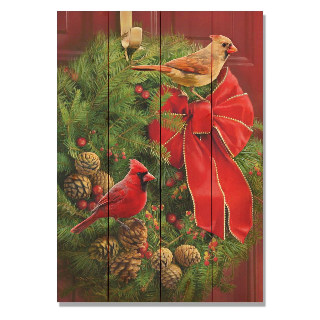 Cardinals and Wreath by Giordano - Christmas Wood Wall Art DaydreamHQ 14x20