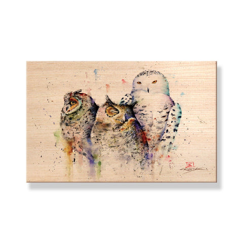 Crouser's Owls - Solid Wood Postcards - Pack of 5