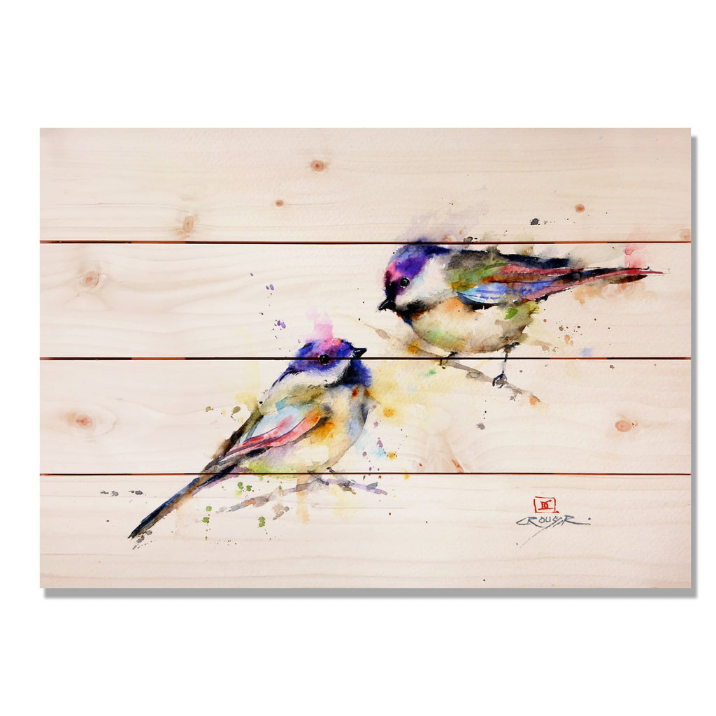 Bird Art, Two Colorful Birds Watercolor Print on Wood, Art Print. Indoor and Outdoor Safe (DCPP) DaydreamHQ