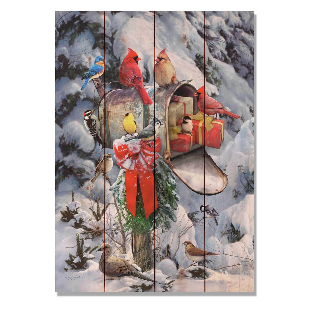 Birds at Mailbox - Cardinal Christmas by Giordano - Wood Wall Art DaydreamHQ 14x20