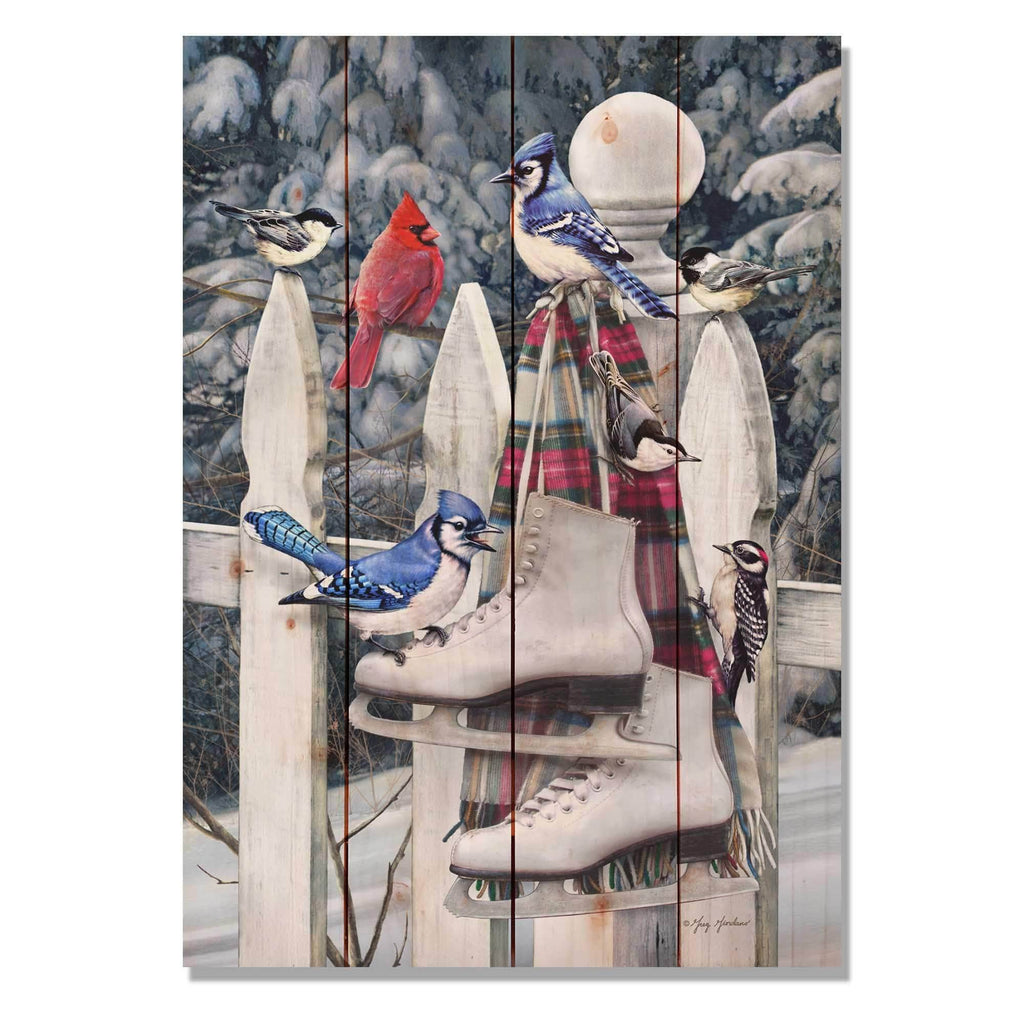 Birds and Skates Christmas by Giordano - Wood Wall Art DaydreamHQ 14x20