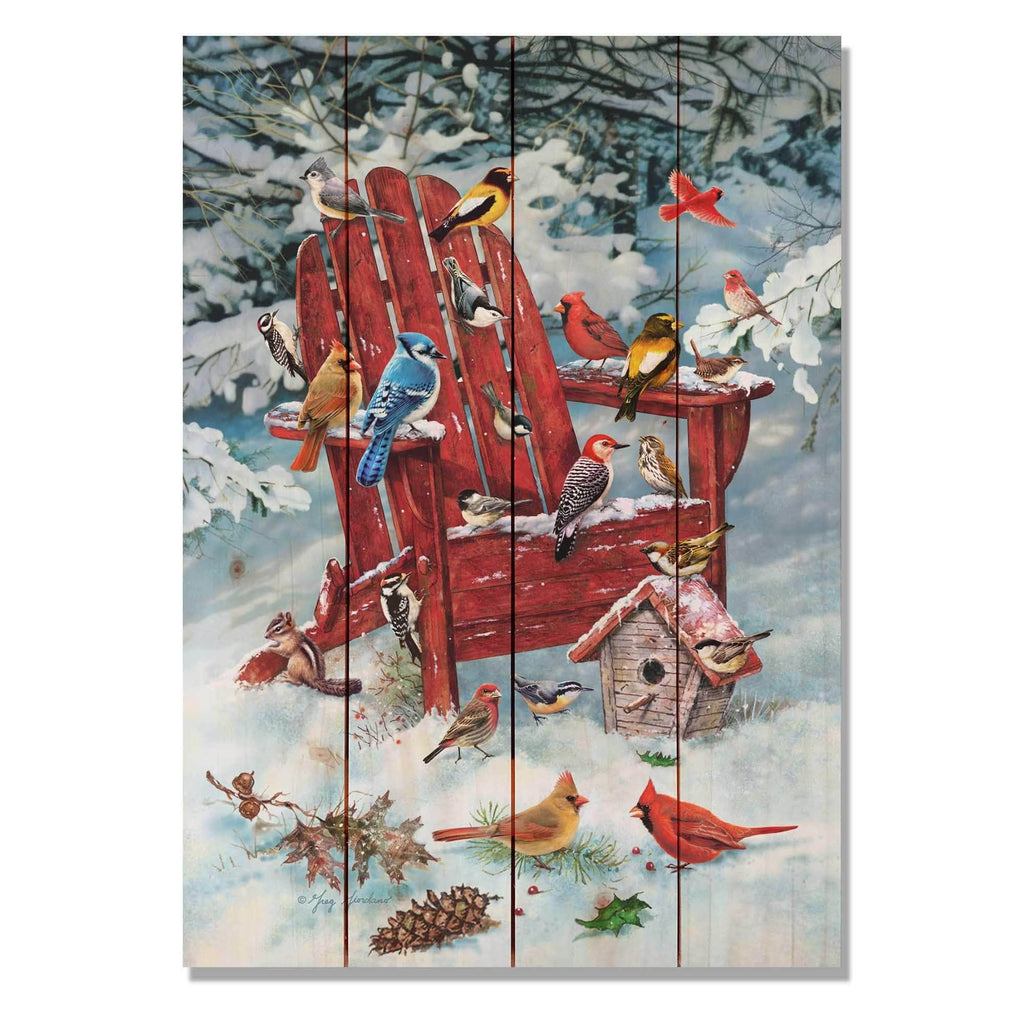 Birds on Winter Chair by Giordano - Wood Wall Art DaydreamHQ 14x20