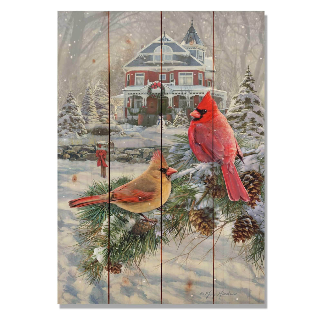 Cardinals and House by Greg Giordano - Christmas Wood Wall Art DaydreamHQ 14x20