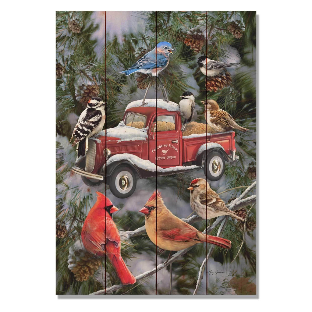 Cardinals Pickup Feeder by Giordano - Winter Wood Wall Art DaydreamHQ 14x20