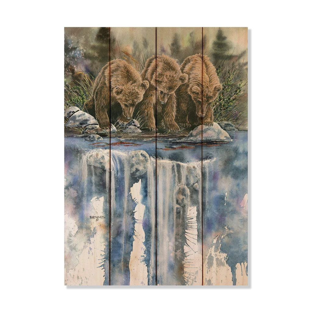 Three Bears Fishing on a River by Dave Bartholet - Wood Wall Art DaydreamHQ 14x20