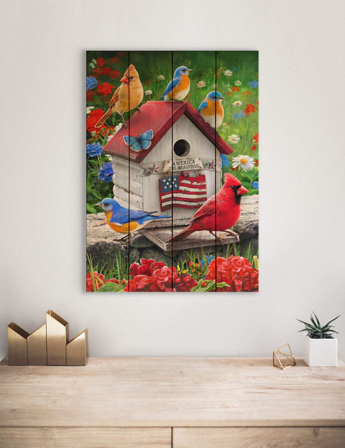 Patriotic Birdhouse by Giordano, Cardinal and Blue Birds Print on Wood, Bird Art, Wall Hanging (GGPB) DaydreamHQ