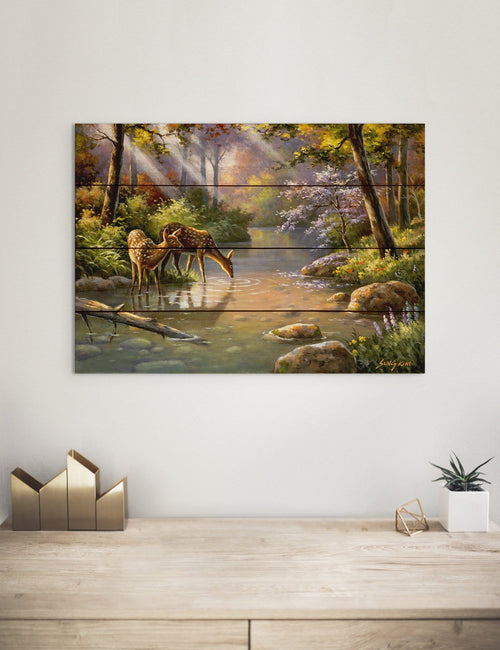 Deer In Stream Colorful Nature Art by Sung Kim - Wood Wall Art DaydreamHQ