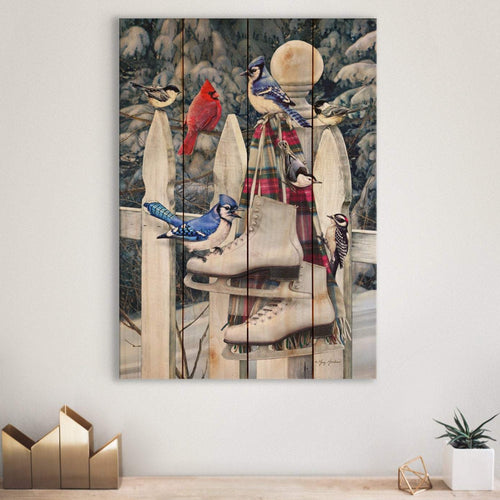 Birds and Skates Christmas by Giordano - Wood Wall Art DaydreamHQ