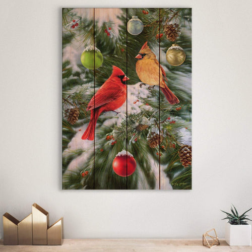 Cardinals and Ornaments by Giordano - Christmas Wood Wall Art DaydreamHQ