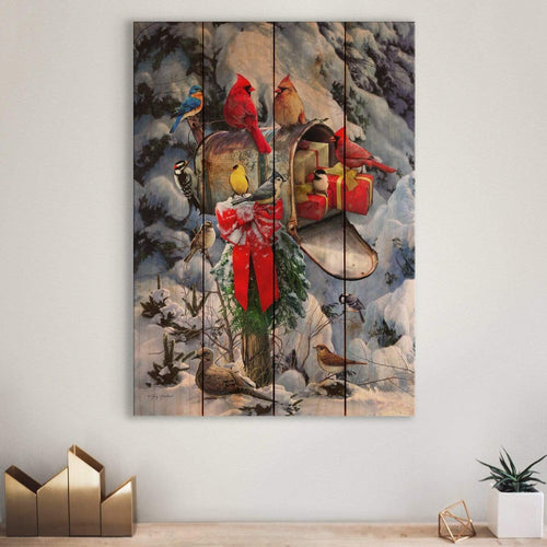 Birds at Mailbox - Cardinal Christmas by Giordano - Wood Wall Art DaydreamHQ