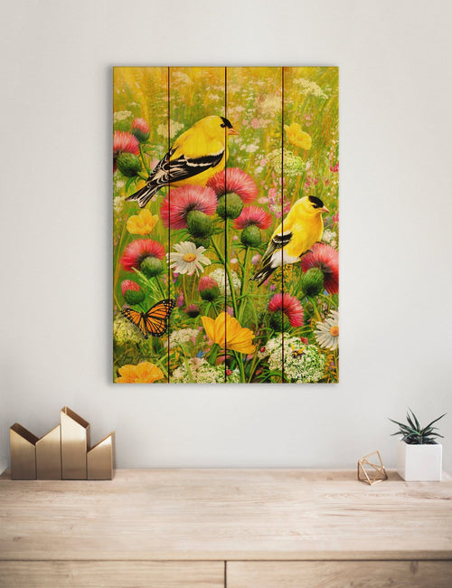 Goldfinches by Giordano, Yellow Bird Print, Colorful Golden Finch on Wood, Wall Hanging (GGGF) DaydreamHQ