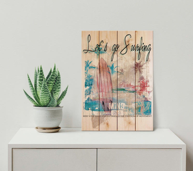 Let's Go Surfing Wood Pallet Wall Art / Wood Surf Print / Surfer Gift / Coastal Art Print Home Decor (WLGS) DaydreamHQ