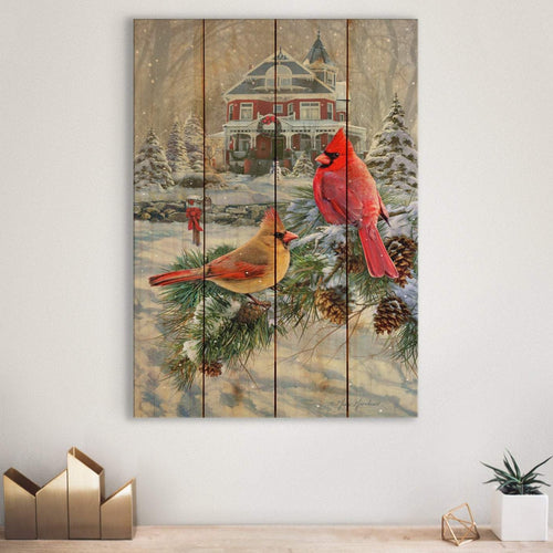 Cardinals and House by Greg Giordano - Christmas Wood Wall Art DaydreamHQ