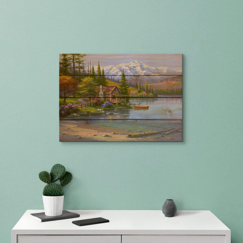 Perfect Setting Cabin Art Print on Wood Pallet / Lake and Mountain Art Nature Wall Hanging (SKPS) DaydreamHQ