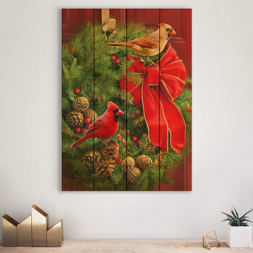 Cardinals and Wreath by Giordano - Christmas Wood Wall Art DaydreamHQ