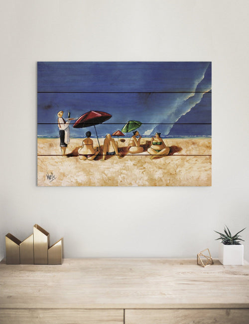 Summer Sipping by Ronald West - Beach Wood Wall Art DaydreamHQ