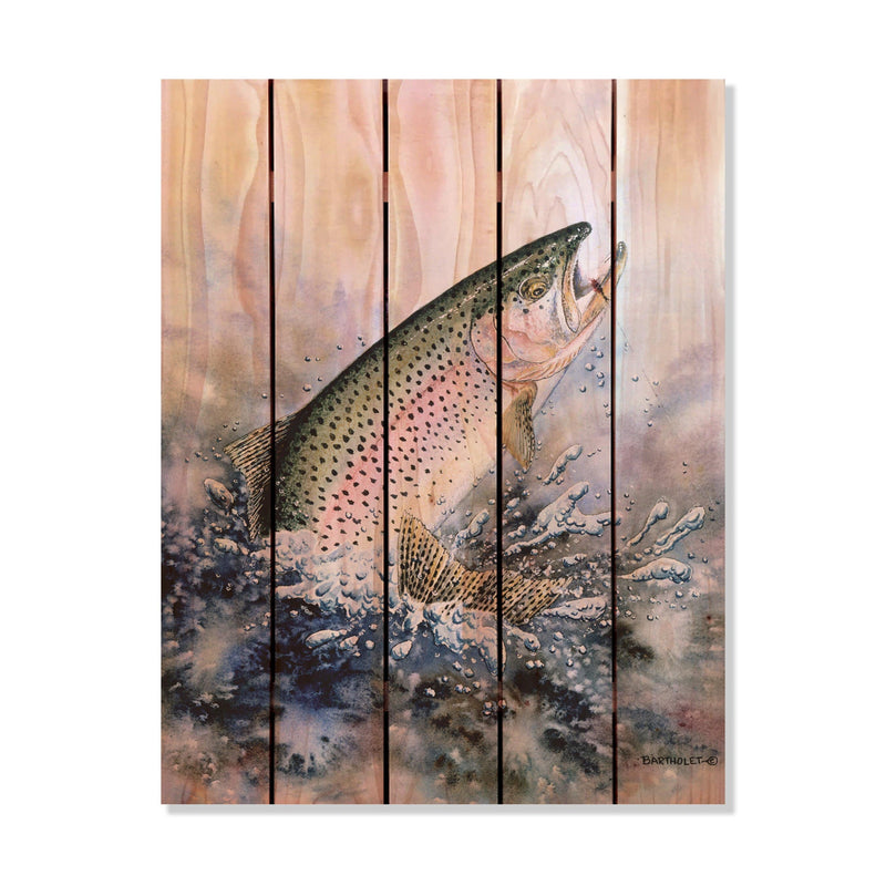 Rainbow Trout / Art Print On Wood / Pallet Wood Wall Art / Home Decor / Trout Print / Trout Painting / Trout Watercolor / Fish Art DaydreamHQ
