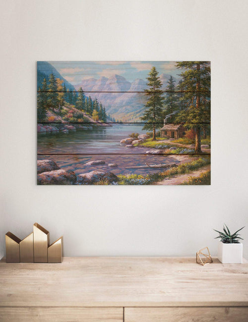 River Cabin by Sung Kim - Nature Wood Wall Art DaydreamHQ