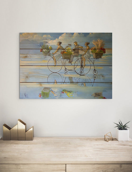 Big Wheel Beach - Colorful Bicycle Kitchen Wood Wall Art DaydreamHQ