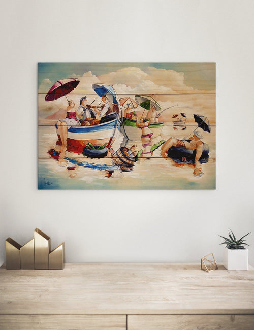 Water Party by Ronald West - Colorful Beach Wood Wall Art DaydreamHQ