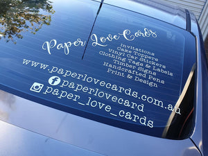 Car and vehicle signage in vinyl