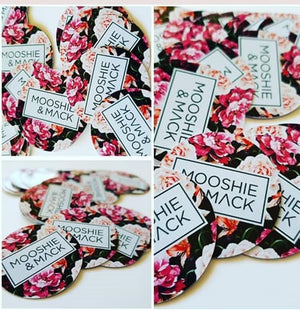 Round swing tags on gloss cardstock