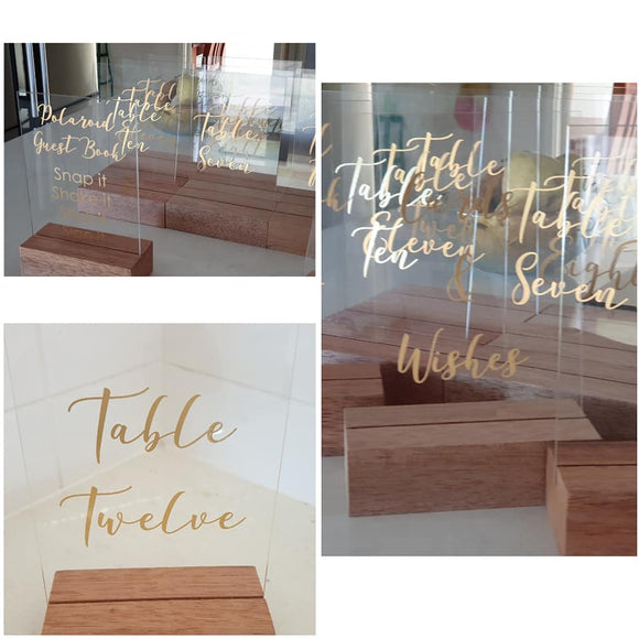 Acrylic table stands for numbers and signs