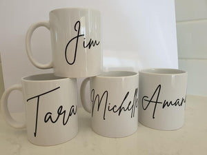 Coffee mugs with names