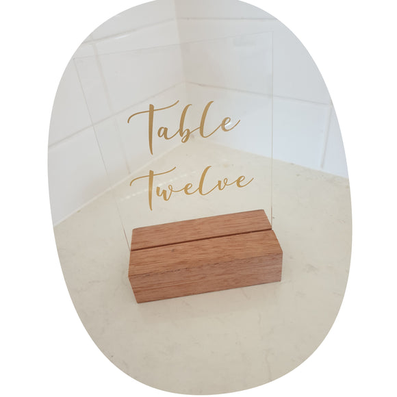 Table Numbers - Acrylic with timber stand and lettering