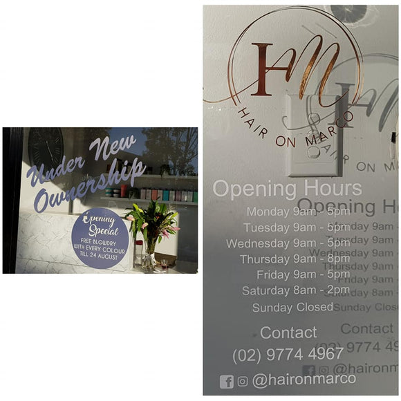 Shop Signage - opening hours and business logo for Hair on Marco in Revesby NSW