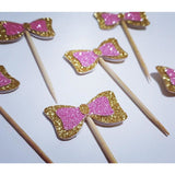 Wiggles inspired cupcake topper bows in glitter