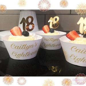 Eighteenth birthday cupcake toppers in gold metallic card