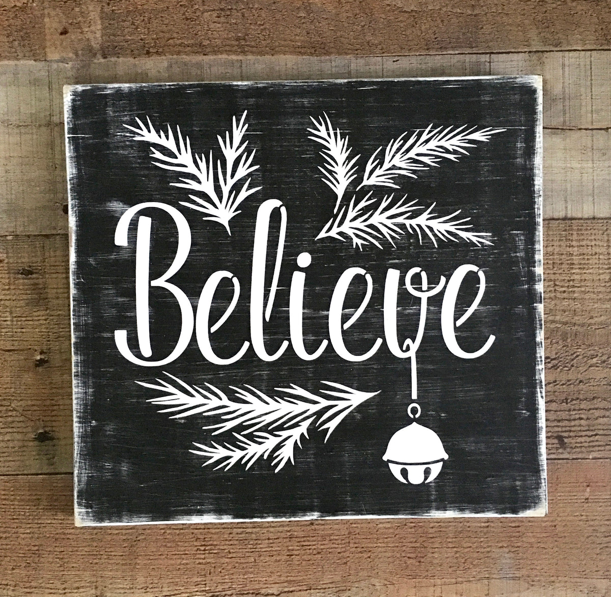 Christmas Wood Signs.Believe Polar Express Bell Woodland Christmas Sign