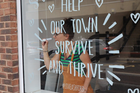 help our town survive and thrive Window Wanderland Ashford Art trail